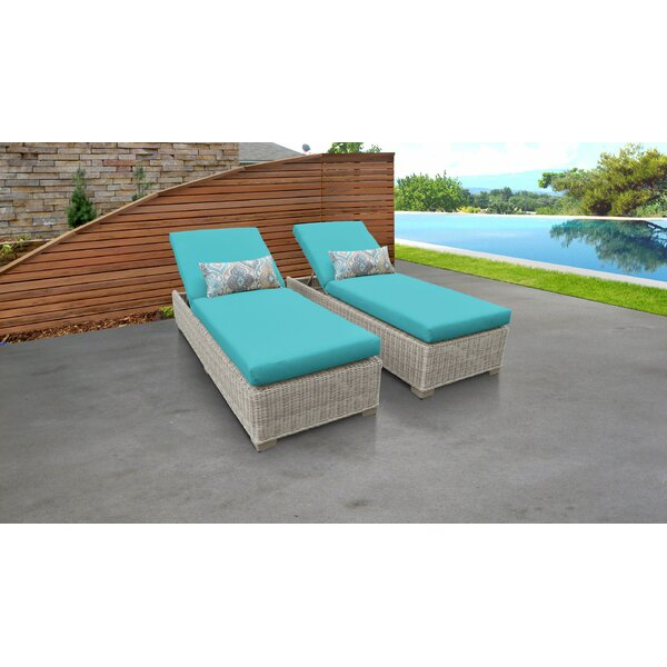 Claire Sun Lounger Set with Cushion and Table (Set of 2) by Rosecliff Heights Rosecliff Heights