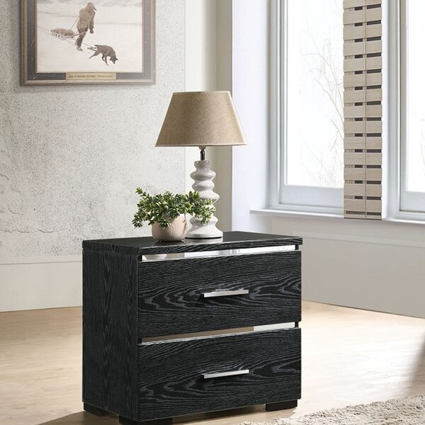Valdez 2 - Drawer Nightstand in Black by Everly Quinn
