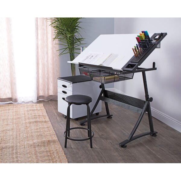 Fusion Height Adjustable Drafting Table and Chair Set