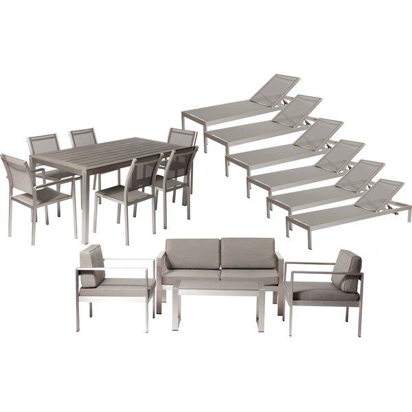Karen 17 Pieces Complete Patio Set with Cushions by Rosecliff Heights