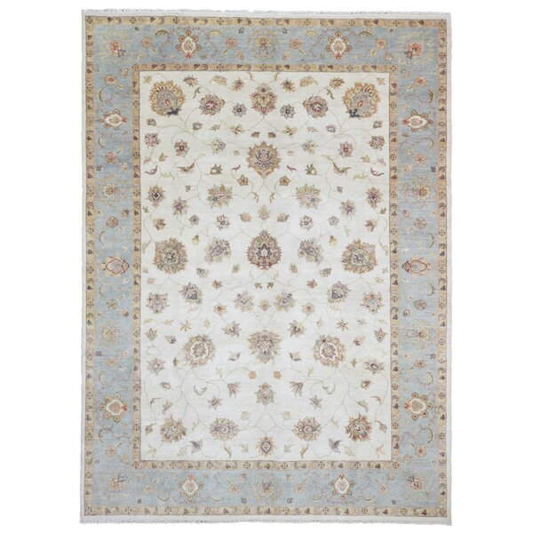 Baron Traditional Rectangle Hand Woven Wool Blue/Beige Area Rug by Isabelline