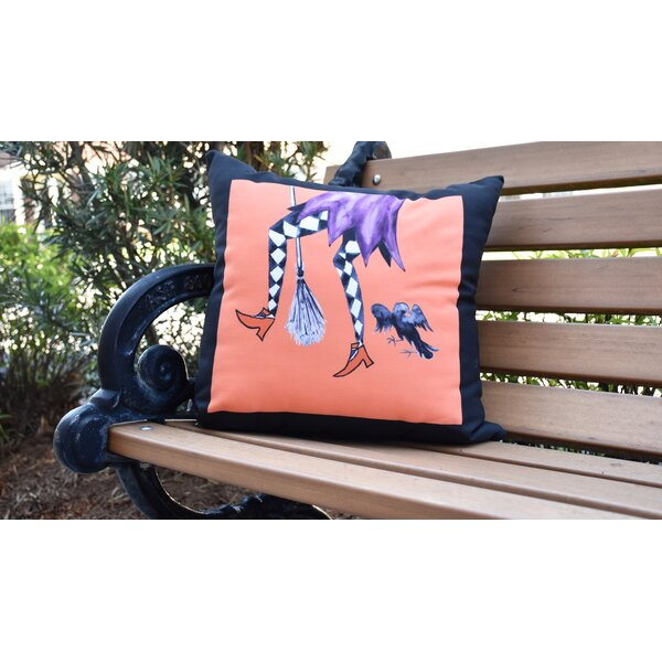 Maser Fly Away Witch Halloween Outdoor Throw Pillow by The Holiday Aisle