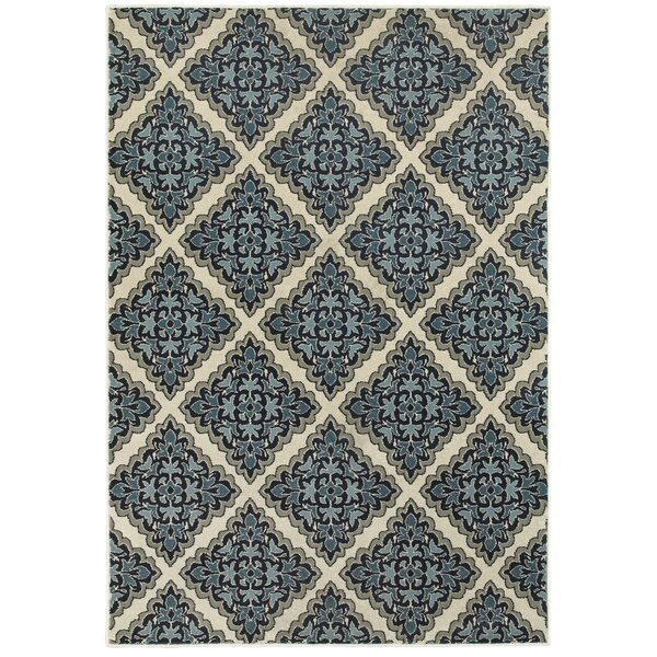 Boykins Ivory/Blue Area Rug by Three Posts