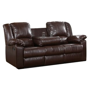 Arely Leather Reclining Sofa Red Barrel Studio