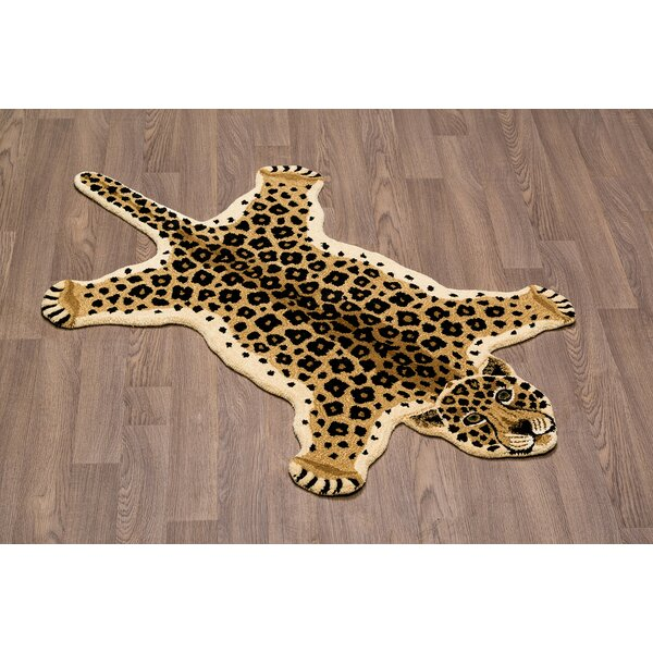 Hidden Hills Leopard Skin Shape Hand Woven Brown/Black Area Rug by Zoomie Kids
