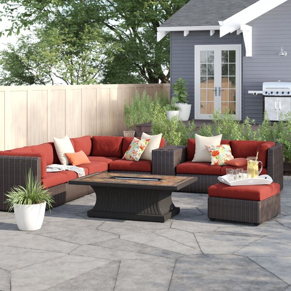 Fairfield 10 Piece Rattan Sectional Seating Group with Cushions by Sol 72 Outdoor