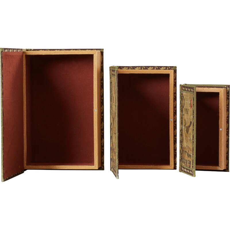 Merveilleux Waltham 3 Piece Classic Library Wood Storage Book Set