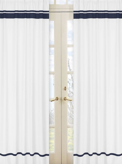 Hotel Striped Semi-Sheer Rod Pocket Curtain Panels (Set of 2) by Sweet Jojo Designs