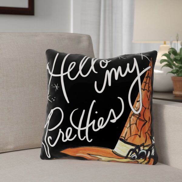 Halloween Hello Pretties Throw Pillow by The Holiday Aisle