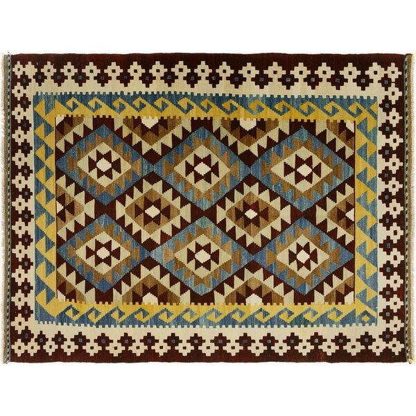 One-of-a-Kind Bakerstown Kilim Hand-Woven Brown/Ivory Area Rug by Bloomsbury Market
