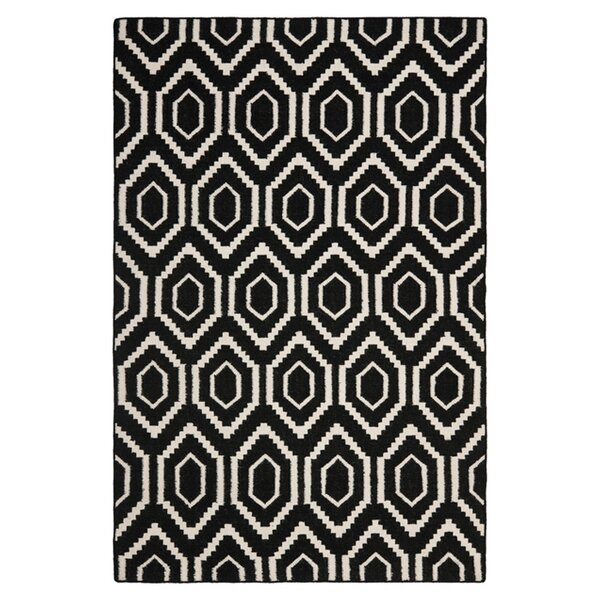 Crawford Hand-Woven Wool Black/Ivory Area Rug by Brayden Studio