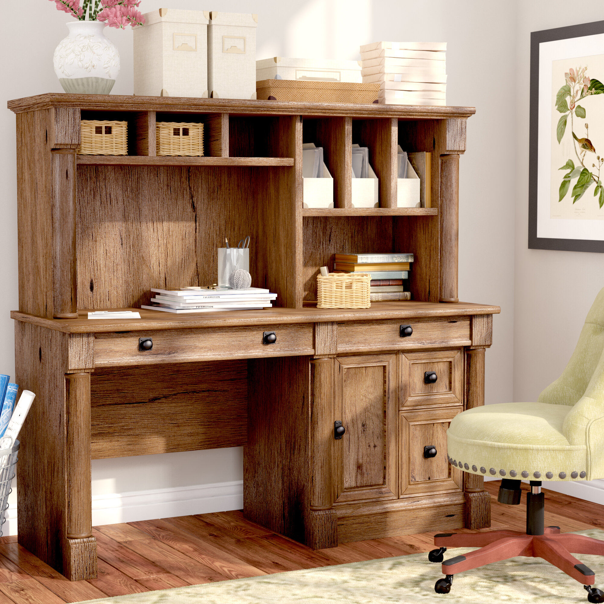 - Three Posts Orviston Computer Desk With Hutch & Reviews: Shelf