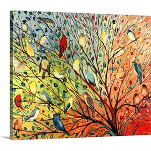 'Twenty Seven Birds' by Jennifer Lommers Painting Print on Canvas by Canvas On Demand