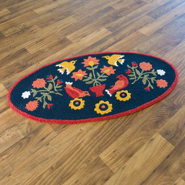 Ansley Folk Art Hand-Hooked Blue Indoor/Outdoor Area Rug by Plow & Hearth