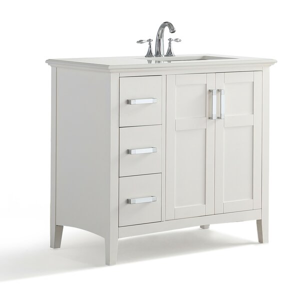 Winston Right Offset 37 Single Bathroom Vanity with Quartz Marble Top by Simpli Home