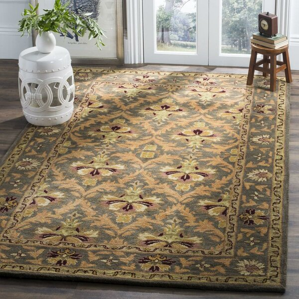 Dunbar Hand-Tufted/Hand-Hooked Wool Sage/Gold Area Rug by Charlton Home