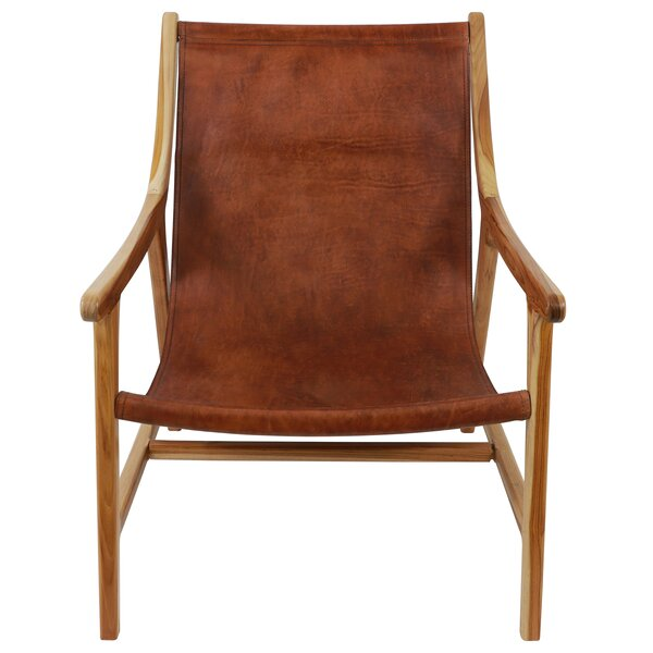Mancheer Leather Sling Armchair by Union Rustic