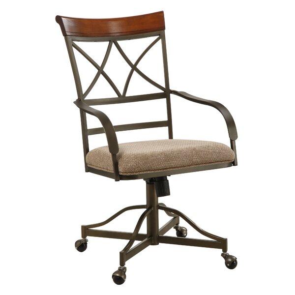 Jefferson Metal Cross Back Arm Chair In Brown (Set Of 2) By Winston Porter