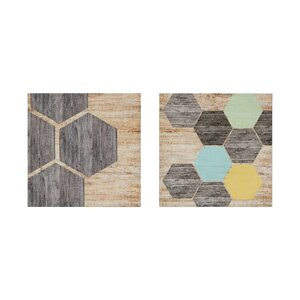 Hexagon Puzzle 2 Piece Graphic Art Print Set on Canvas by George Oliver