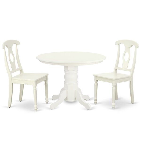 Kuehn 3 Piece Solid Wood Dining Set by August Grove