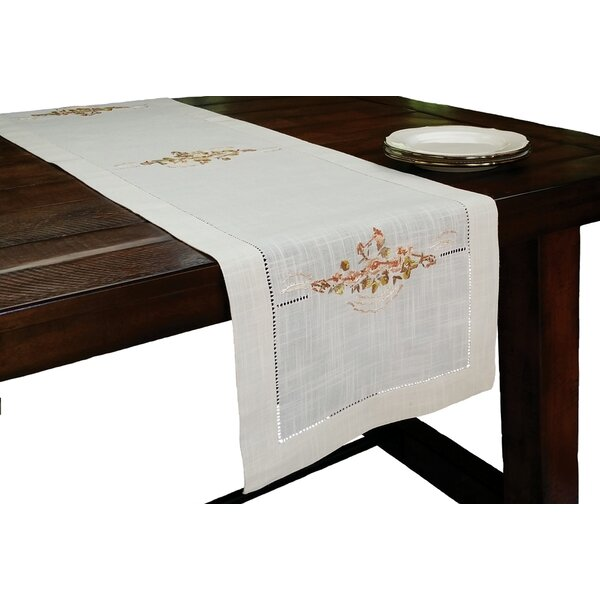 Linen Flowers Crewel Embroidered with Hemstitch Cutwork Table Runner by Xia Home Fashions
