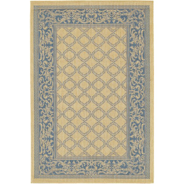 Celia Natural/Blue Area Rug by Beachcrest Home