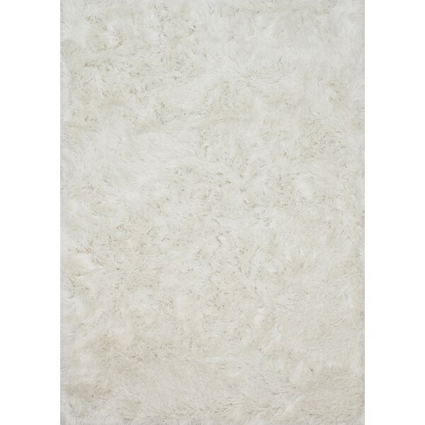 Elliana Shag Hand-Tufted White Area Rug by House of Hampton