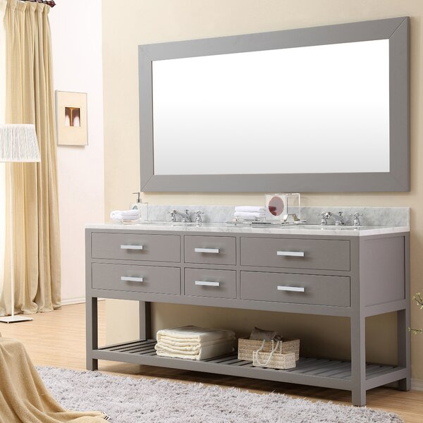 Berghoff 60 W Double Sink Bathroom Vanity Set with Rectangular Mirror by Andover Mills