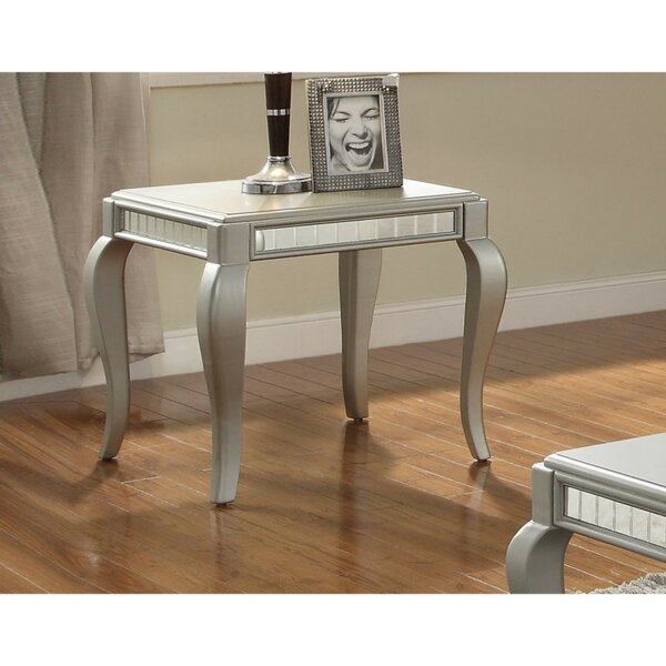 Behnke Mirror Trim Wooden Cabriole Legs Square End Table by House of Hampton