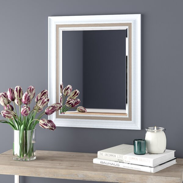 White Brushed Steel Beveled Wall Mirror by Lark Manor