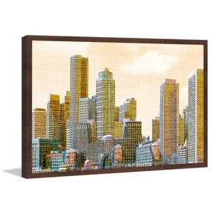 'Boston Skyline' Framed Painting Print by Marmont Hill