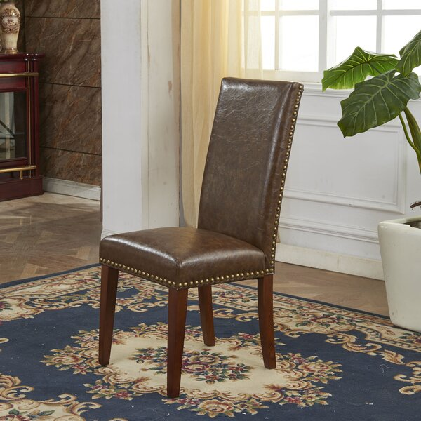 Traditional Waxed Texture Nail Head Parsons Chair (Set of 2) by Bellasario Collection