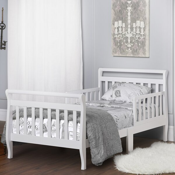 Toddler Sleigh Bed with Safety Rails by Dream On Me