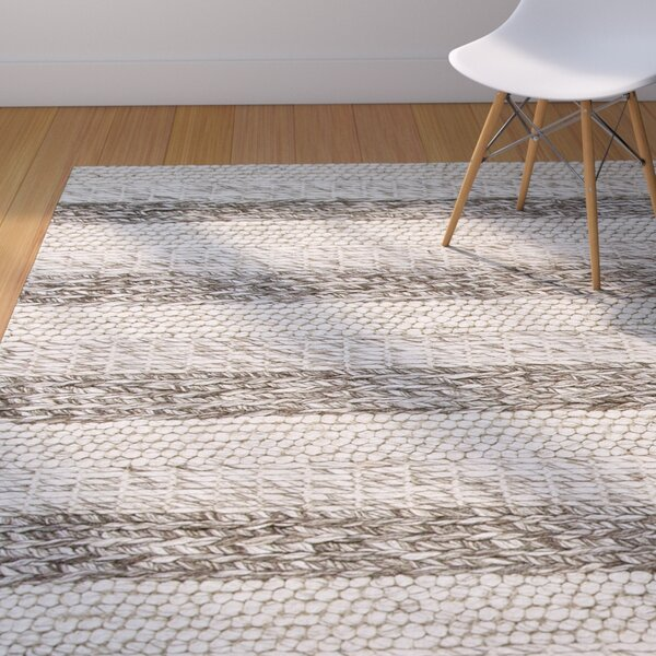 Sherwood Hand-Tufted Wool Gray/White Landscape Area Rug by Corrigan Studio