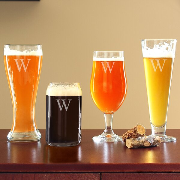 Personalized 4 Piece Specialty Beer Glass Set by C