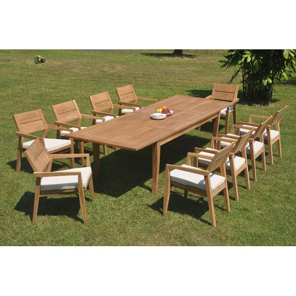 Haywa 11 Piece Teak Dining Set by Rosecliff Heights