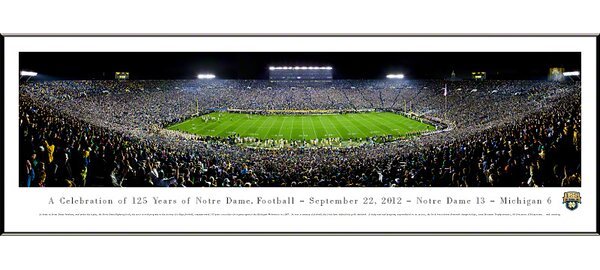 NCAA University of Notre Dame - 125 Night Standard Framed Photographic Print by Blakeway Worldwide Panoramas, Inc