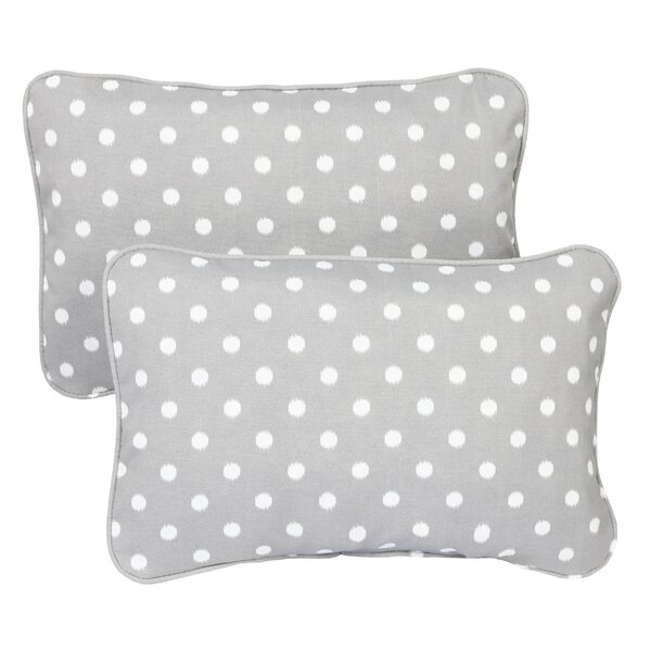 Alleyne Dots Piped Indoor/Outdoor Piped Lumbar Pillow (Set of 2) by Latitude Run