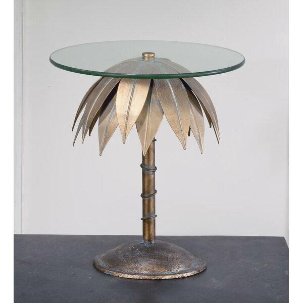 Tiberius Small Palm Tree Pedestal End Table By Bay Isle Home