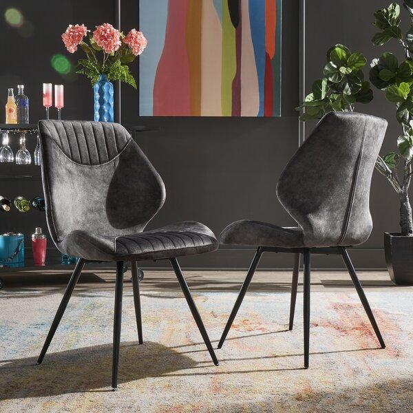 Byerly Velvet Upholstered Side Chair in Gray (Set of 2) by Mercer41 Mercer41