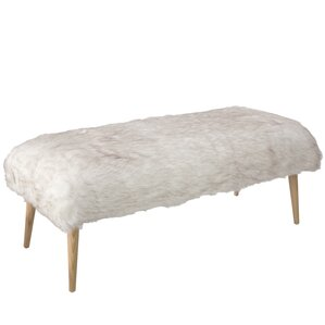 Chereen Wood Upholstered Bench with Cone Legs by Bungalow Rose