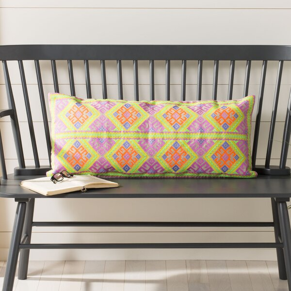 Pohlman Embroidered Cotton Lumbar Pillow by Bungalow Rose