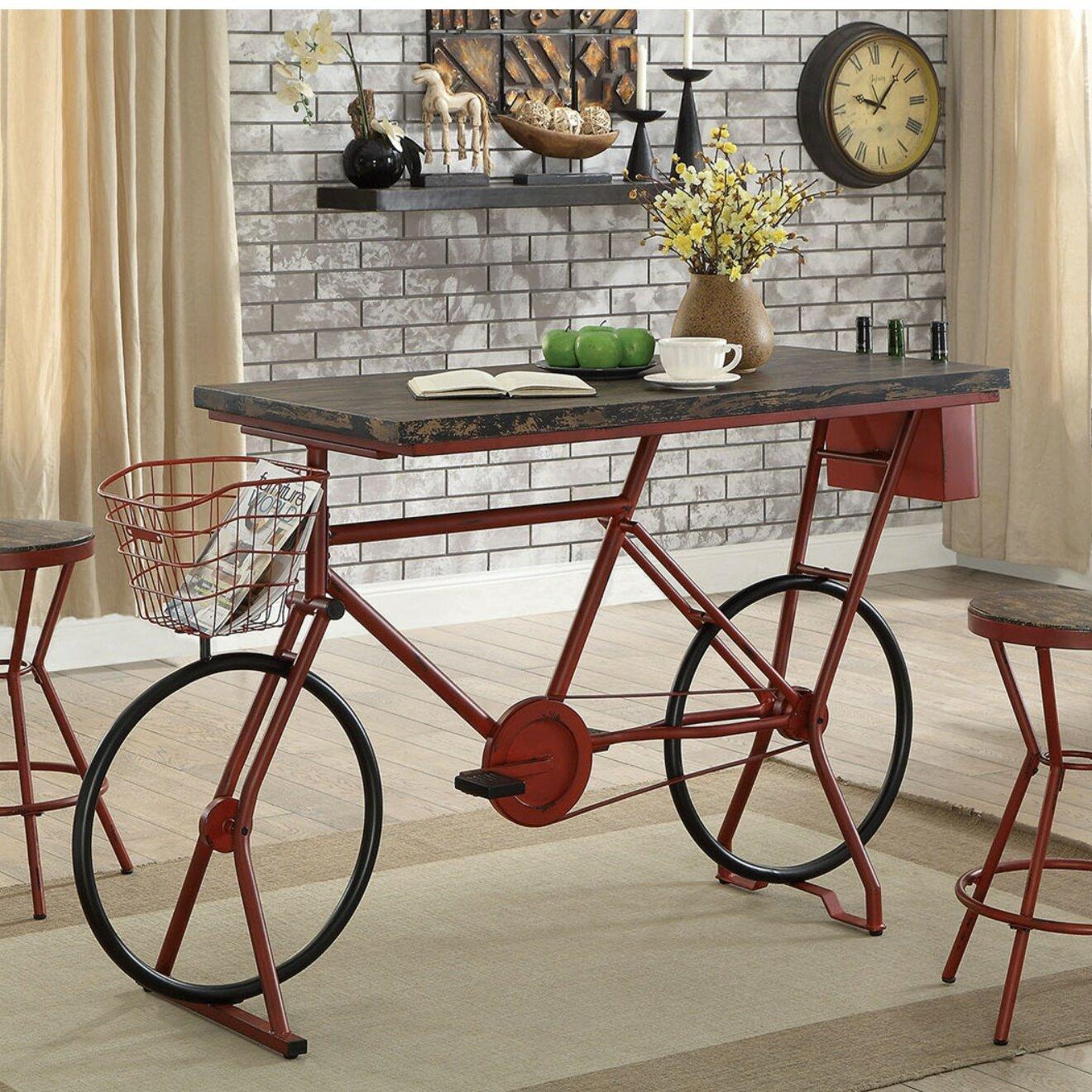 Stories Hayley Metal Bicycle Base Distressed Wood Pub Table Wayfair - Distressed wood pub table