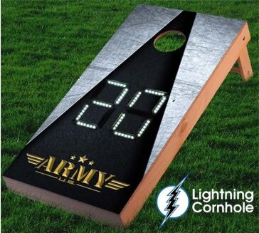 Electronic Scoring Army Design Cornhole Board by Lightning Cornhole
