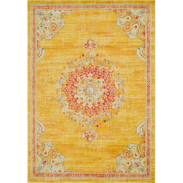 Ernst Gold/Red Area Rug by Bungalow Rose