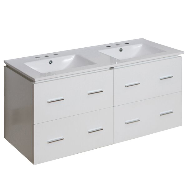 Kyra 48 Double Bathroom Vanity with Ceramic Top by Orren Ellis