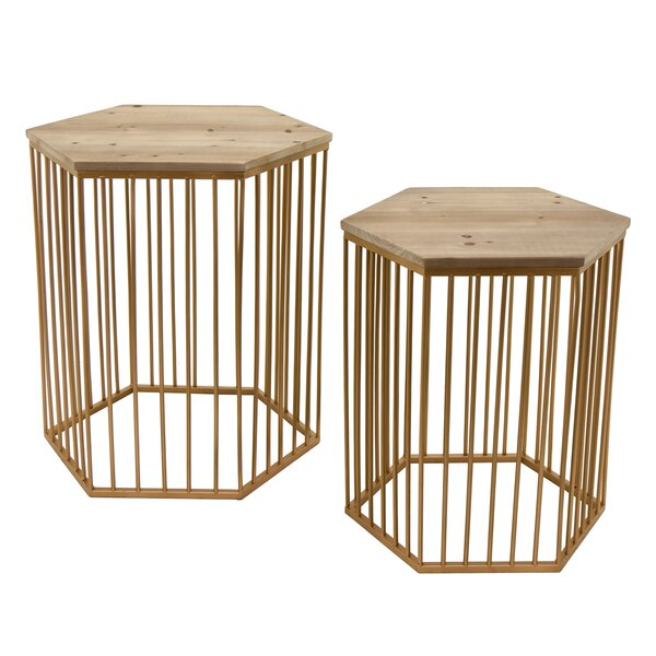 Contemporary Wood/Metal 2 Piece Nesting Tables (Set of 2) by Bungalow Rose