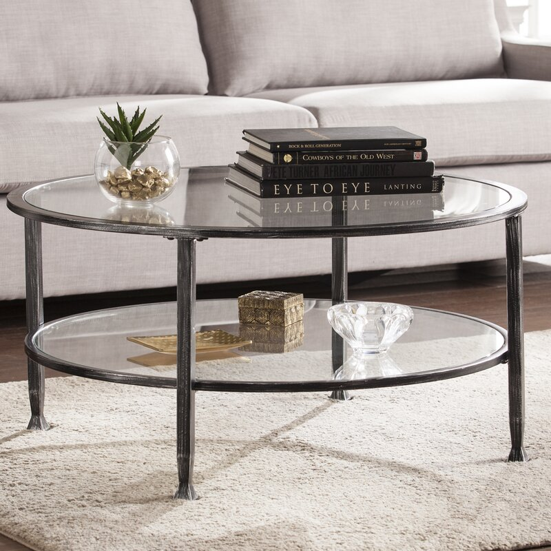 Orren Ellis Casas Metal and Glass Round Coffee Table & Reviews ...