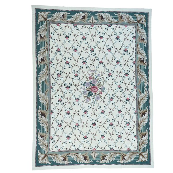 One-of-a-Kind Needlepoint Botanical Hand-Knotted Ivory Area Rug by Bloomsbury Market