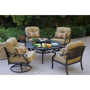 Nassau 5 Piece Fire Pit Seating Group With Cushions